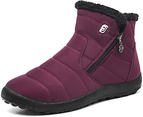 JOINFREE Schneeschuhe Warme Wasserdichte Stiefel mit voll Pelzfutter für Frauen Weinrot, 43 EU