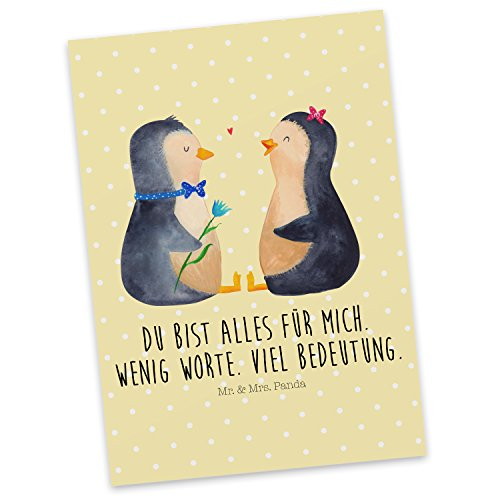 Mr. & Mrs. Panda Postkarte Pinguin Pärchen - Pinguin, Pinguine, Liebe, Liebespaar, Liebesbeweis, Liebesgeschenk, Verlobung, Jahrestag, Hochzeitstag, Hochzeit, Hochzeitsgeschenk, große Liebe, Traumpaar Postkarte, Geschenkkarte, Grußkarte, Karte, Einladung, Ansichtskarte, Sprüche