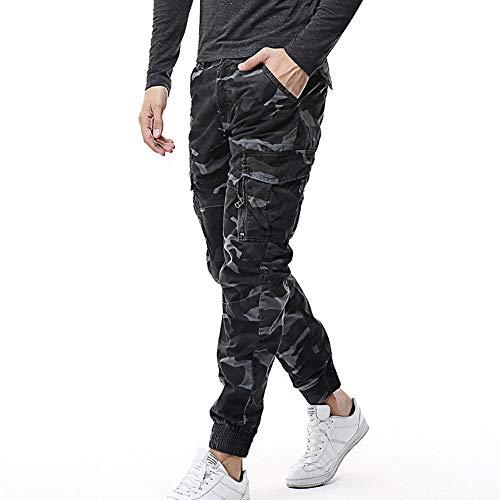 UJUNAOR Cargo Hosen Männer Outdoor Casual Tasche Pants aus Baumwolle Lose Gerade Hose(Blau,EU 50/CN 34)