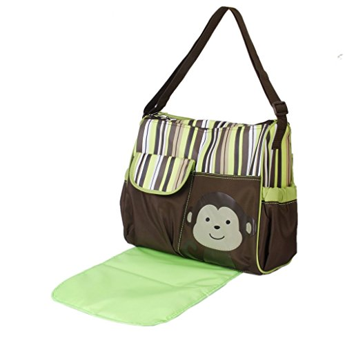 multifunctional-mummy-handbag-baby-diaper-nappy-changing-bag-with-diaper-changing-pad-monkey-green-s