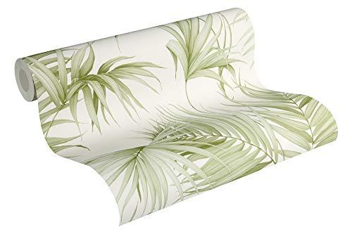 Michalsky Living Vliestapete Dream Again Tapete mit Palmenprint in Dschungel Optik 10,05 m x 0,53 m creme weiß grün Made in Germany 365051 36505-1 -