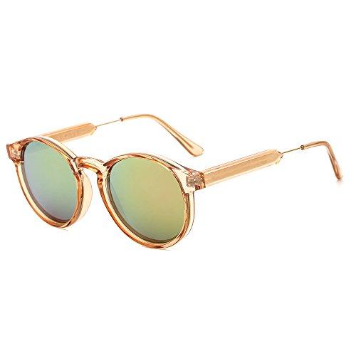 Suertree Damen Sonnenbrille UV400 Unisex Shades kleine Runde niedliche Halbmetall Arme Brille JH9005