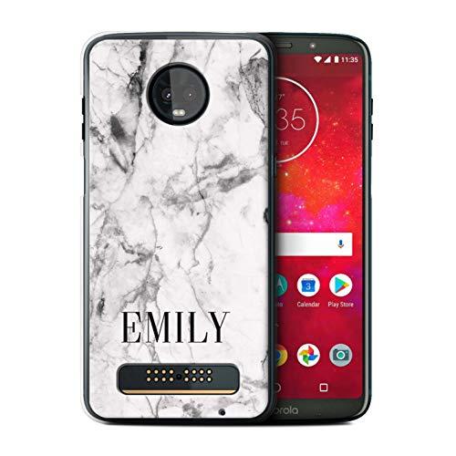 eSwish Personalisiert Individuell Weißer Marmor Hülle für Motorola Moto Z3 Play 2018 / Distressed Marmor Stempel Design/Initiale/Name/Text Schutzhülle/Case/Etui -