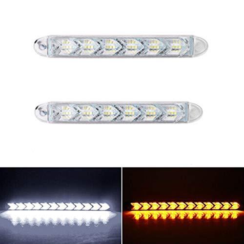 Preisvergleich Produktbild Xuba 12 V 6 LEDs,  zweifarbig,  wasserfest,  flexibel,  Tagfahrlicht,  Scheinwerfer,  Pfeilspitze,  Blinker White+Yellow Light
