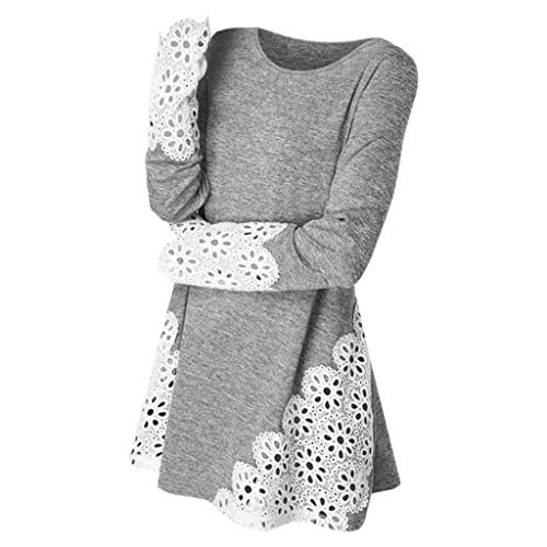 Damen Langarmshirt, Langarm Lace Sweatshirt Elegant Hoodie Langarm Wrap Asymmetrische Pullover Beiläufig Tunika für das Reisen von ABsoar