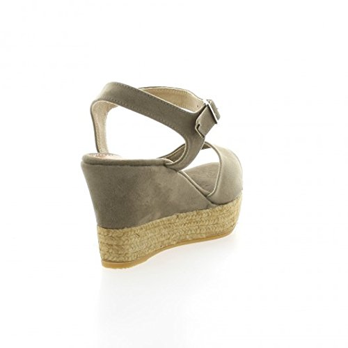 Pao Espadrille velours taupe Taupe