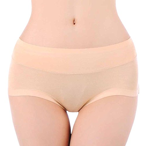 HOEREV Womens Comfort Middle Waist Bamboo Fibre Brief Panty, Pack of 3