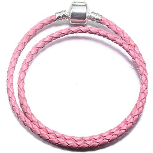Baostic Armschmuck Fashion 9 Colors Leather Chain Charm Bracelets Fits Fine Bracelet DIY for Women Jewelry Accessories Pink 20cm -