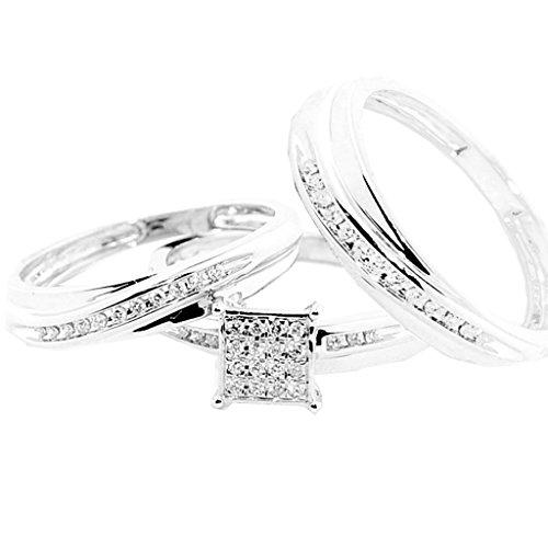 Für Ring-sätze Ihn Diamant-hochzeit (rings-midwestjewellery. COM Damen 10K Weiß Gold Brautschmuck Trio Ringe Set seine und ihre Ringe 1/4cttww Diamanten (I/J Farbe 0,25Karat Gesamtgewicht))