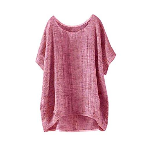 YEBIRAL Sommer Neu Damen Große Größen Leinen Einfarbig mit Rundhalsausschnitt Kurzarm Lose Shirt Tops Oberteile Bluse(EU-50/CN-5XL,Rot)