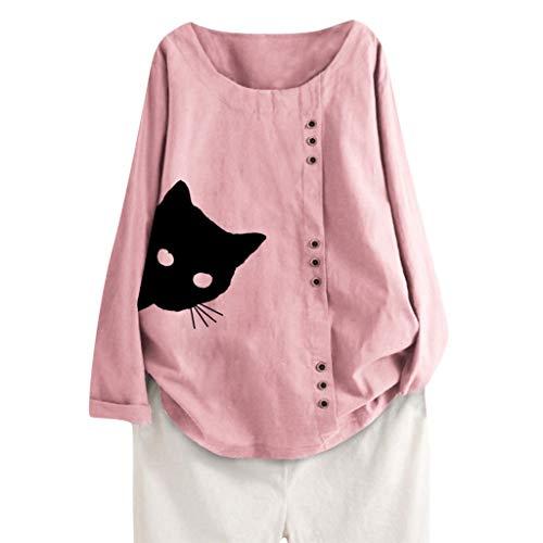 Committede Damen Sommer Lange Ärmel Blusen Button Down Hemdbluse Casual Shirt Fashion Freizeit Top Knopfleiste Bluse Cat Drucken T-Shirt Casual Bluse Tunika Tops