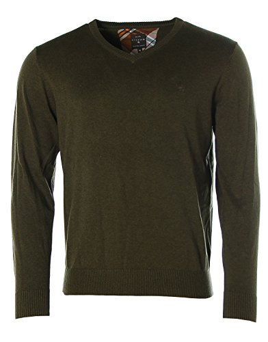 KITARO Herren Pullover Strick V-Ausschnitt Brillant Cotton Dried Herb melange