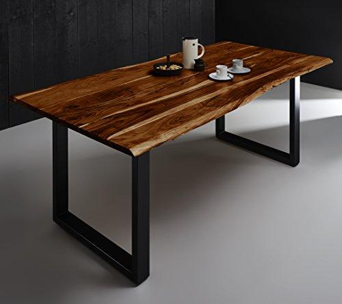SAM Esszimmertisch 180x90 cm Quintana, echte Baumkante, nussbaumfarben, massiver Esstisch aus Akazienholz, Metallbeine schwarz, Baumkantentisch