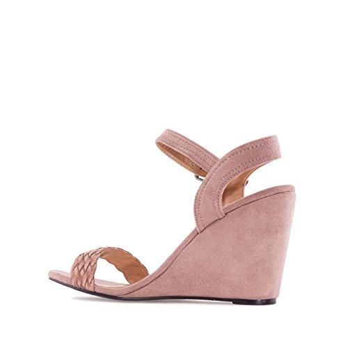 Andres Machado. AM5133.Chaussures Compensées en Suèdine. Petites et Grandes Pointures 32/35-42/45. Maquillage
