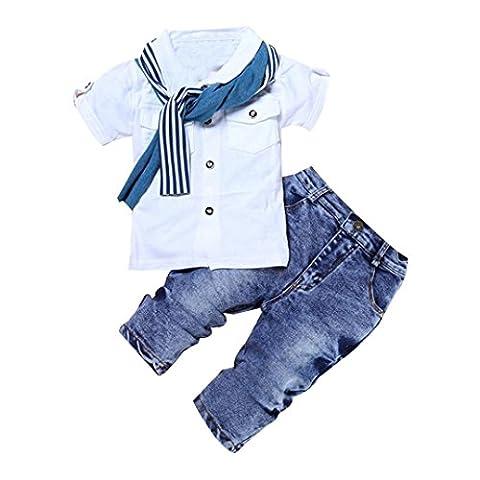 Pour 2-7 Ans Bébé Garçon Ensemble de Vêtements, Tonwalk 1Set T-Shirt Tops+Écharpe+Pantalons (4T, Blanc)