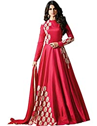 STYLE AMAZE Women's Satin Silk Embroidered Anarkali Suit (SA_SUNDAY-1285, Red, Free Size)