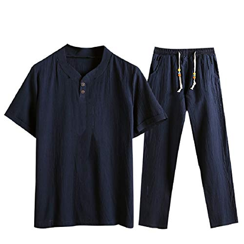 CuteRose Men's Big Tall V-Neck Cozy Chinese Style Pants with Tops Sets Navy Blue L Velours-activewear-set