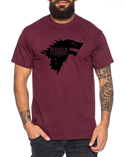 Coming Herren Game T-Shirt Cooles Thrones Shirt, Größe:S, Farbe:Weinrot