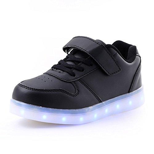 AFFINEST Led Con Luci Sneakers Bright Light USB 7 Colori Bambino Scarpe Lampeggiante bambini ragazzi ragazze regalo Natale Capodanno(nero,37)
