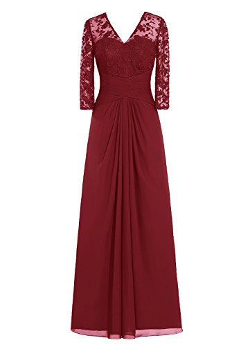 Dresstells, robe de demoiselle d'honneur, robe de mère de mariée, robe de cérémonie col en V Manches 3/4 Ivoire