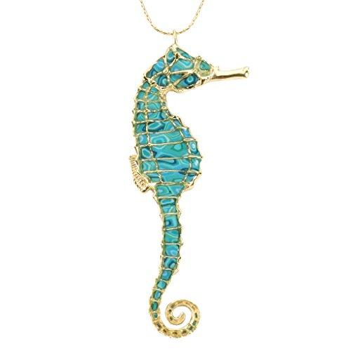 Collier Pendentif Hippocampe Majestueux - Bijoux fait main en Argent fin Plaqué Or et Fimo, Chaine en Or Laminé 50cm Turquoise