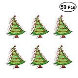 Healifty Holzknöpfe Weihnachtsbaum geformte Zwei-Loch dekorative Knöpfe 35x27mm 50Pcs (Mischfarbe)