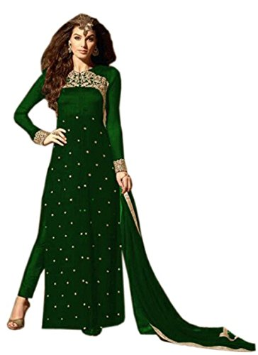 Special Mega Sale Festival Offer C&H Green Georgette Semi-Stitched Designer Suits