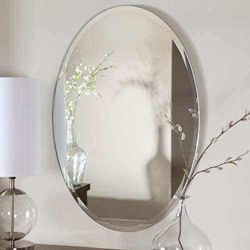 Quality Glass Frameless Decorative Oval Mirror | Mirror Glass For Wall | Mirror For Bathrooms | Mirror In Home | Mirror Decor | Mirror Size : 18 X 24 Inch