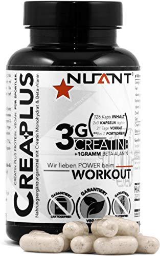 NUANT – CREA PLUS | Seltener Komplex aus Creatin Monohydrat & Beta-Alanin. Für Bodybuilder & Athleten | 126 Kapseln | 100% - VEGAN. | MADE IN GERMANY