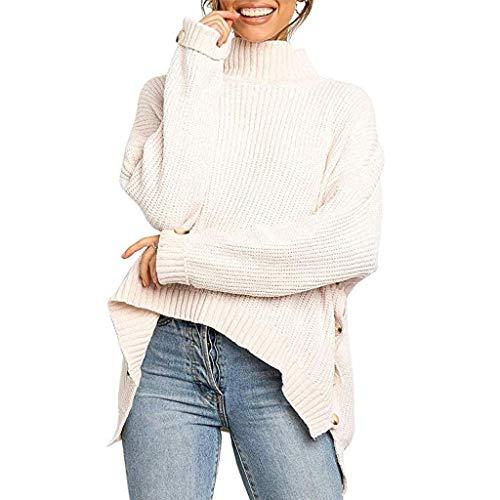 DAY.LIN Sweater Pull Femmes Chemisier T-Shirts Chemises T-Shirt Pull à Col Roulé à Manches Longues uni et Irrégulier Blouse Pullover Tops Pas Cher