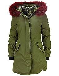 DSguided Edler Echtfell Parka Winter Jacke Mantel in Schwarz Khaki