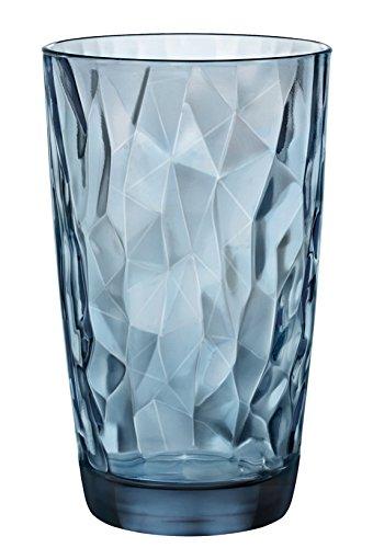 0 Diamond Ocean Blue Longdrinkglas, 470 ml, Glas, blau, 6 Stück ()