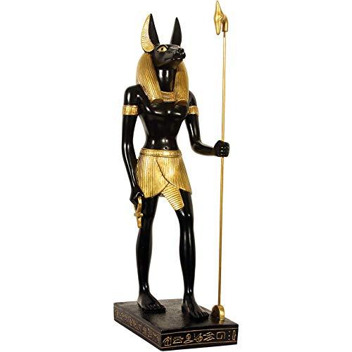 """Figura de Anubis, 40cm Anubis, el """"Guardian de los muertos egipcio de una decoración de buen gusto para los amantes de la mytologie la base fue probado en un lateral de la bolsa con pictogramas en relieve, también Golden Color a cabo sobre los mater..."""