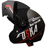 Steelbird SB-45 OSKA Flip Up Helmet with Reflective Graphics (Large 600 MM, Matt Black with Smoke Visor and extra Clear Visor)