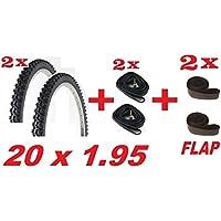 2 x Copertoni + 2 x Camere d'aria + 2 x Flap ideale per bicicletta MTB 20 x 1.95 - 20 Ragazze Bmx Bicicletta