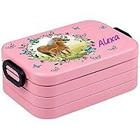 Preisvergleich für Lunchbox Rosti Mepal Maxi Take A Break midi Brotdose Brotbox mit eigenem Namen Nordic Pink Pferdewiese mit Schmetterlingen