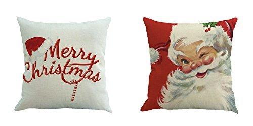 DOYOLLA Merry Christmas Serie Überwurf Kissen Fall Dekorative Kissenhülle Kissenbezug Quadratisch 45,7cm–Set von 2