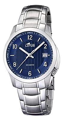 Lotus 0 - Reloj de cuarzo para hombre, con correa de acero inoxidable, color plateado de Lotus