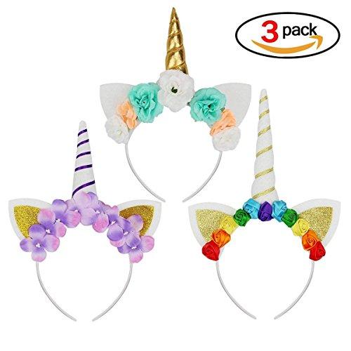 Newin Star Einhorn Haarband, 3 Stück Bunter Einhorn Haarreif Mädchen Haarschmuck für Alltäglichen Gebrauch, Kostüm Party, Karneval, Halloween,usw.