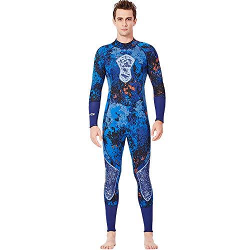 Herren-Neoprenanzug mit Vollärmel und glatter Haut, Camouflage-Tauchanzug für Open-Water-Schwimmen Ironman Scuba Diving-Schnorcheln,L