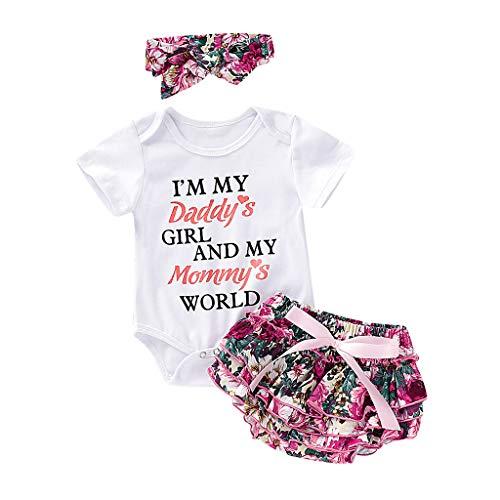 OVINEE 3 stücke Neugeborenen Babyspielanzug Mädchen Drucken Overall Kleidung Outfit Anzug Set Kostüm Kurze Hosen Shorts (Socke Affe Kostüm Mädchen)