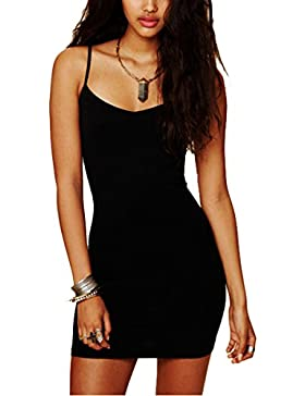 Butterme Vestito corto a forma di spaghetti dalla cinghia sexy sexy delle donne del Bodycon Basic di base del...