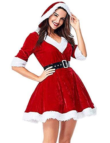 Marysa Frauen Frauen samt Weihnachten Weihnachten mrs. Claus kostüm Kapuzen - Kleid mit gürtel (Mrs Claus Kostüm Mit Kapuze)