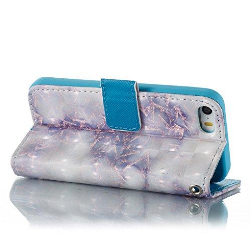 Apple iPhone SE 5 5S Hülle, SATURCASE Einzigartig 3D Stein Muster PU Lederhülle Ledertasche Magnetverschluss Flip Cover Brieftasche Case Handy Tasche Schutzhülle Handyhülle Hülle mit Standfunktion Kar Muster-6