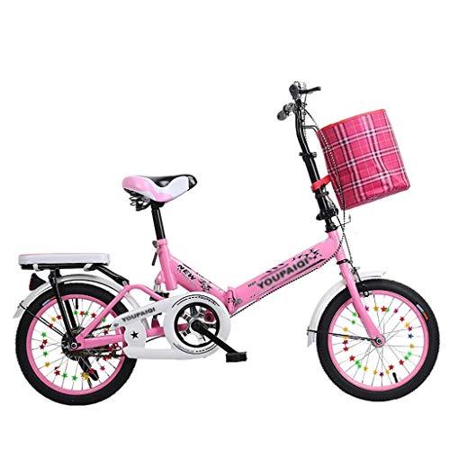 YJTGZ Fahrräder Kinder Faltrad Sommer Outdoor Kinder Mountainbike Park Road Freizeit Fahrrad Student Fahrrad Reisefahrrad (Color : Pink, Size : 16inch) -
