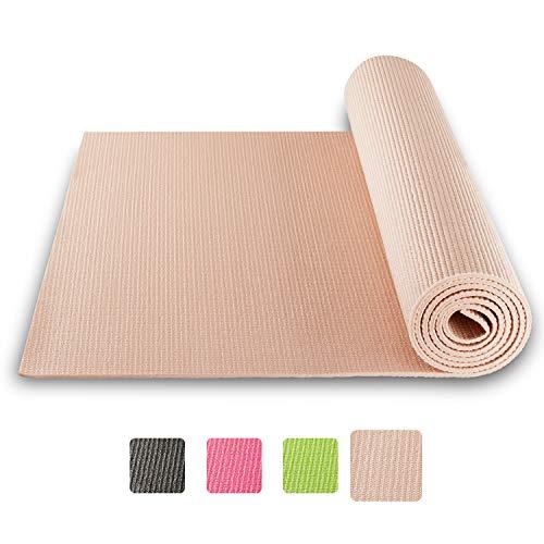 BODYMATE Yogamatte Universal Rose-Gold - Größe 183x61cm - Dicke 5mm - Schadstoffgeprüft frei von Phthalaten, BPA, Schwermetallen - Trainings-Matte für Fitness, Yoga, Pilates, Functional