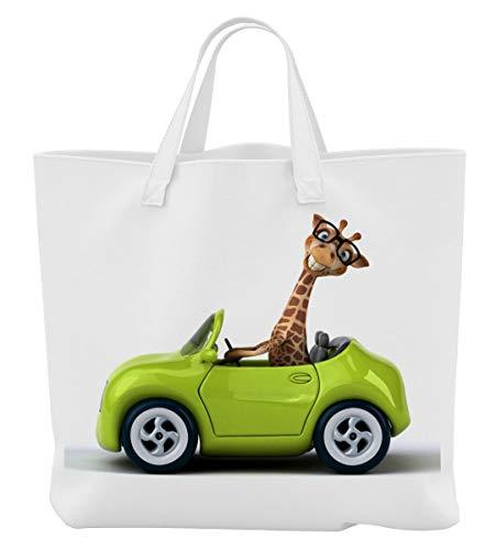 Merchandise for Fans Einkaufstasche - 45 x 42 cm x 9,5 cm, 18 Liter - Motiv: 3D Comic Giraffe in kleinem Auto - 06