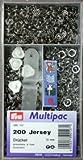 Prym 390 127 Druckknopf Nähfrei Jersey MS Zackenring silberfarbig 10 mm