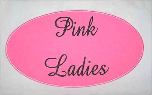 Pink Ladies Patch 9 cm Embroidered Iron on Badge Aufnäher Fett Kostüm 1950 's Cosplay Hen Party Fancy Kleid SOUVENIR
