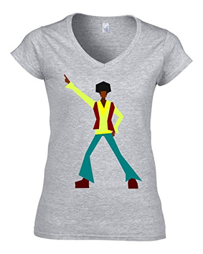 Nothingtowear Disco Dancer Retro Old School Logo dope dammen V-Neck Baumwolle t-Shirt Medium